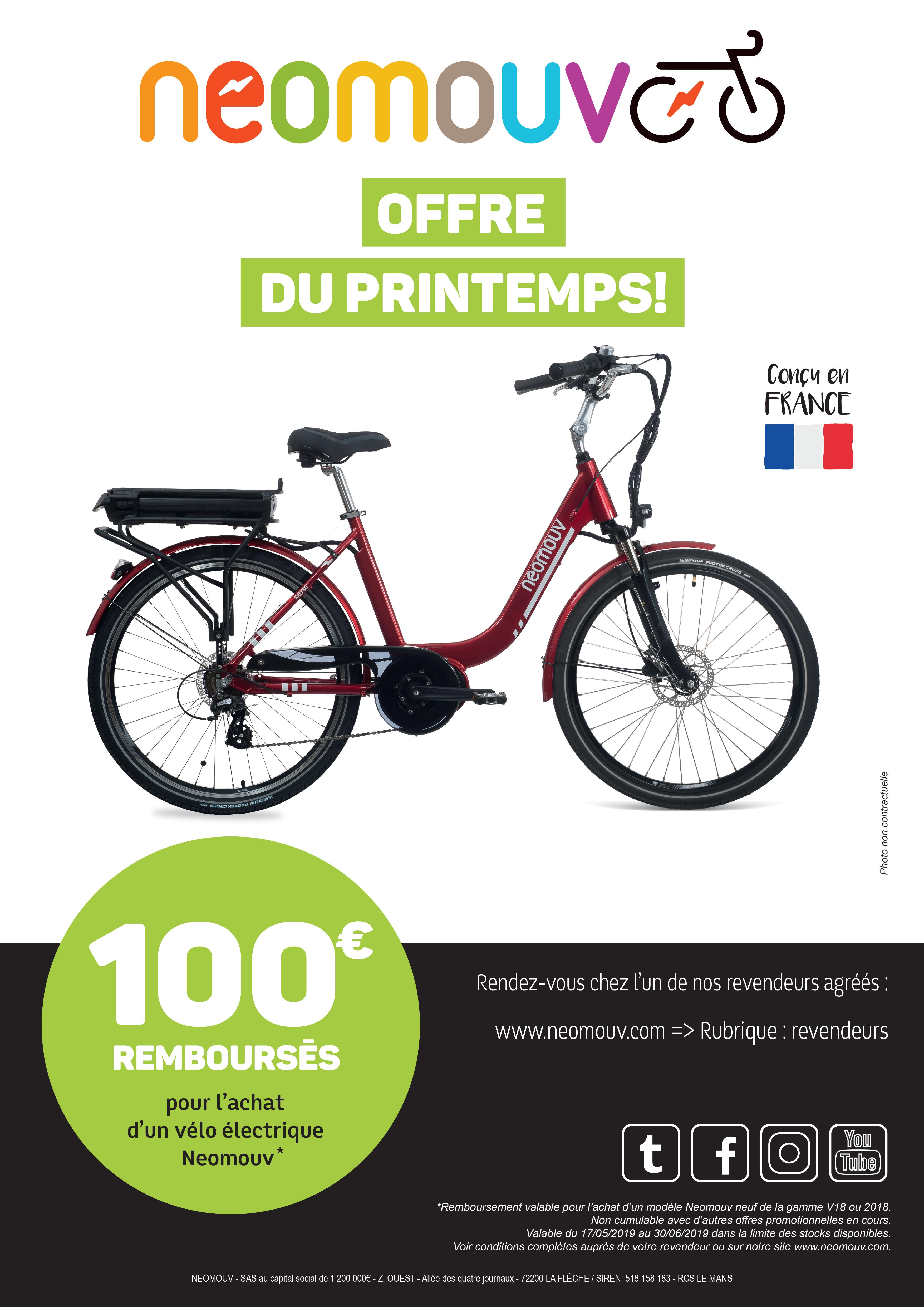 100€ REMBOURSÉS POUR L'ACHAT D'UN VÉLO ÉLECTRIQUE NEOMOUV